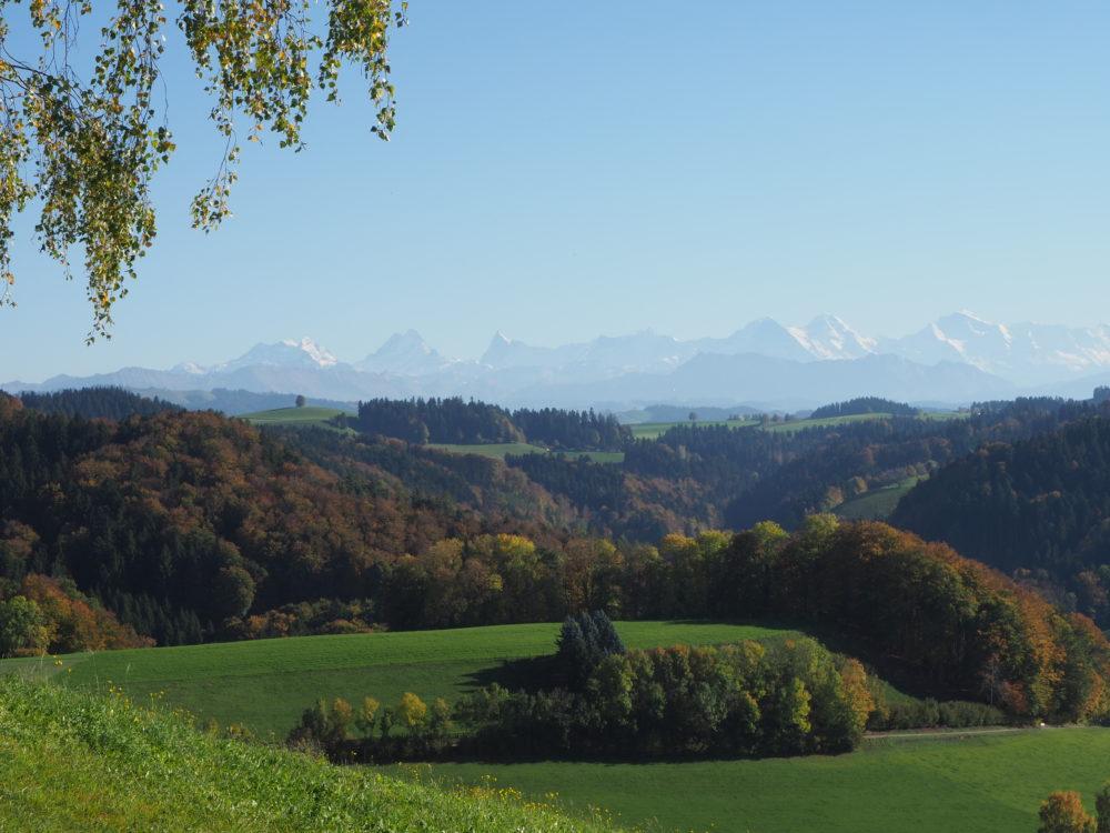 Hügel des Emmentals mit Eiger Mönch und Jungfrau