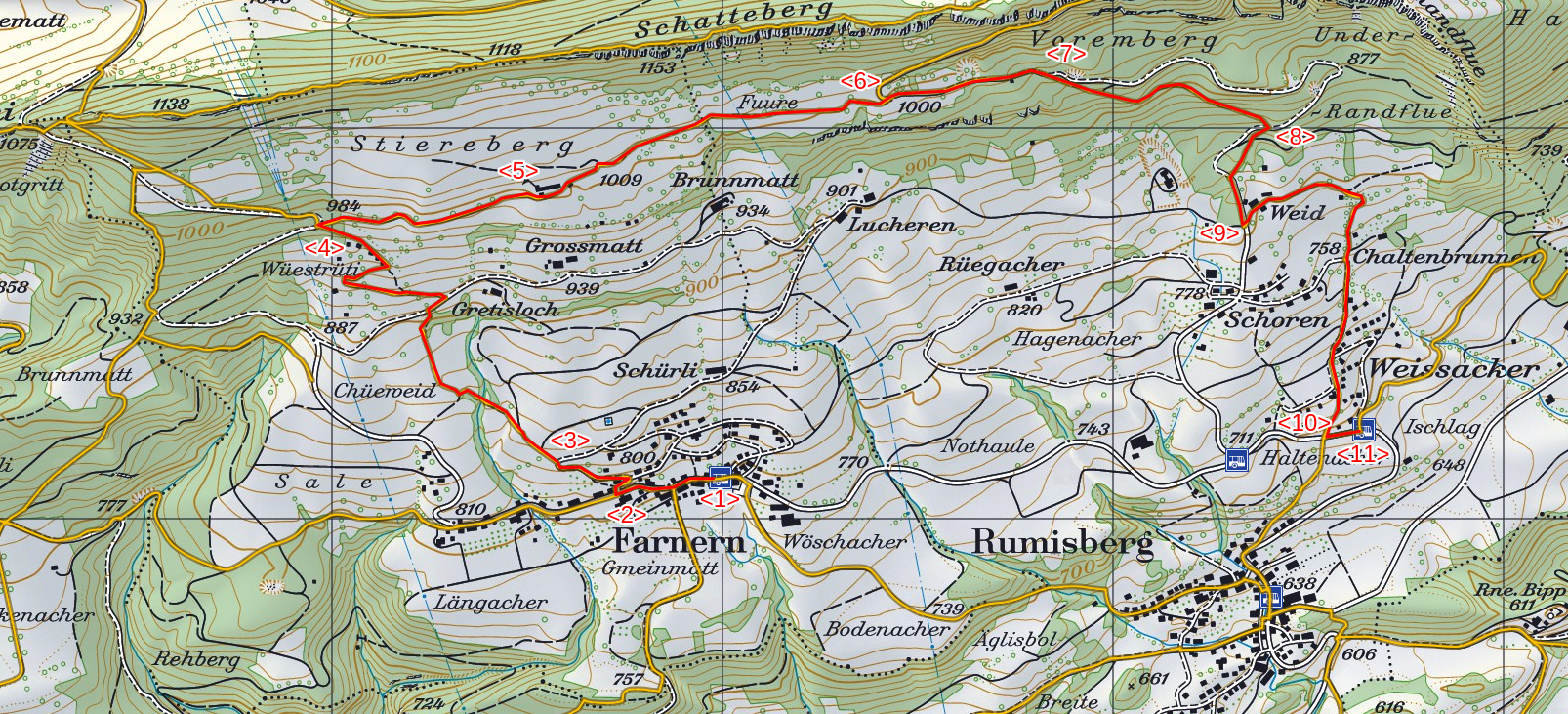 Karte Farnern-Stierenberg-Rumisberg