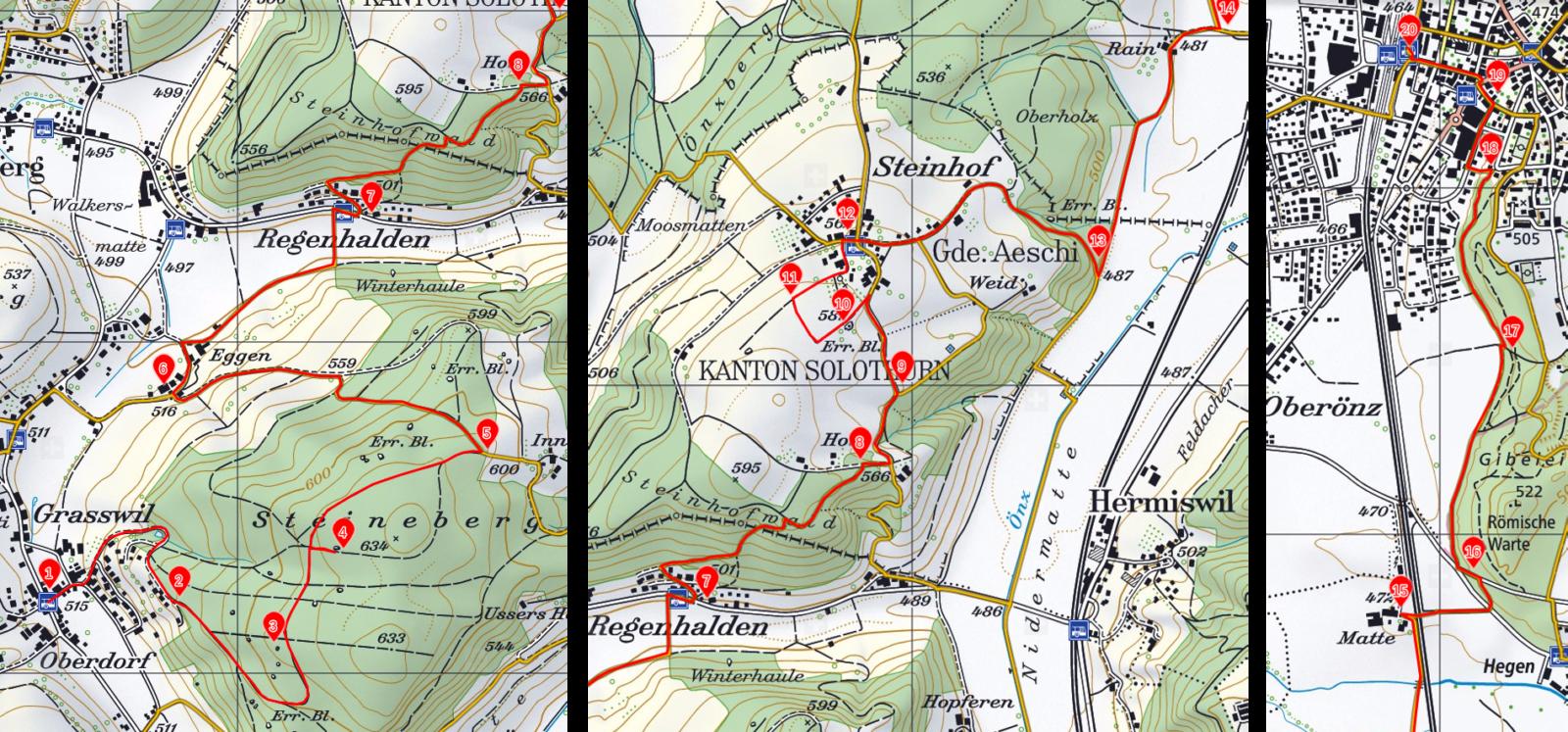 Wanderung zu den Findlingen auf dem Steinenberg und Steinhof Wanderkarte