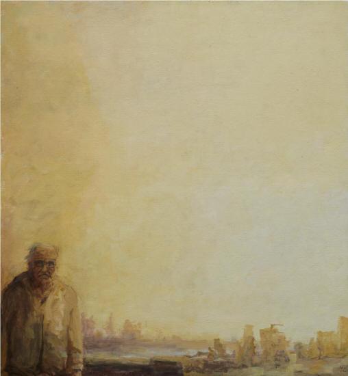 Martin Ziegelmüller Selbstportrait vor Ruinenstadt