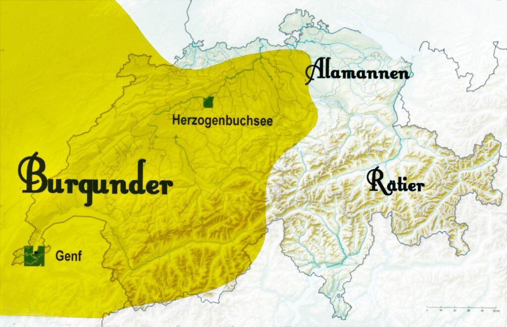 Nach dem Zusammenbruch des weströmischen Reiches 476 gehörte gut die Hälfte der Schweiz zum Königreich Burgund. Das Zentrum lag in Genf, wechselte später nach Lyon und Dijon. Im gelb unterlegten Gebiet wohnten nur rund fünfzehn Prozent Burgunder, die Elite. Die Mehrheit der Bevölkerung bildeten immer noch romanisierte Kelten und einige wenige Alamannen. Kartengrafik: hks